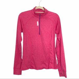 Reebok Pink Heather Quarter Zip Pullover Sweater M